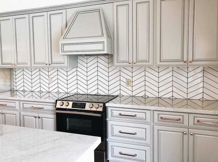 Provincetown chevron mosaic in Porch White
