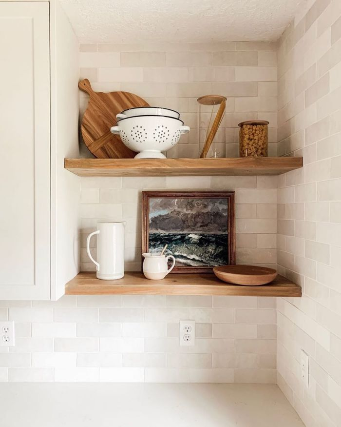 Chris Loves Julia Kitchen with Bedrosians tile in Cloe White - Open Shelving