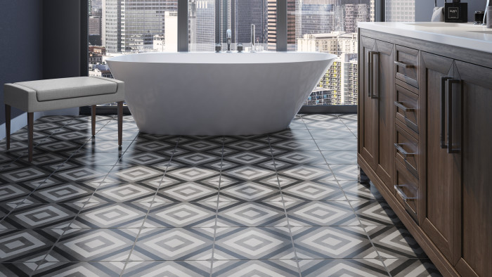 Chateau 12x12 porcelain tile in Diamond Deco (Smoke, Canvas and Midnight colors)