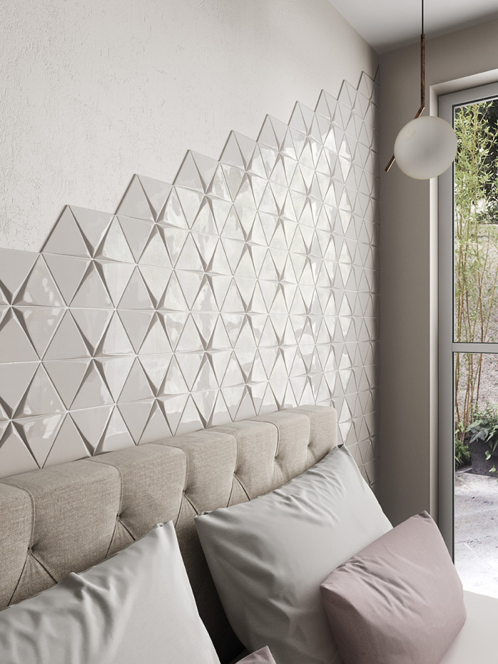 Triangolo 3D ceramic tile in Gloss Fog in a stars pattern