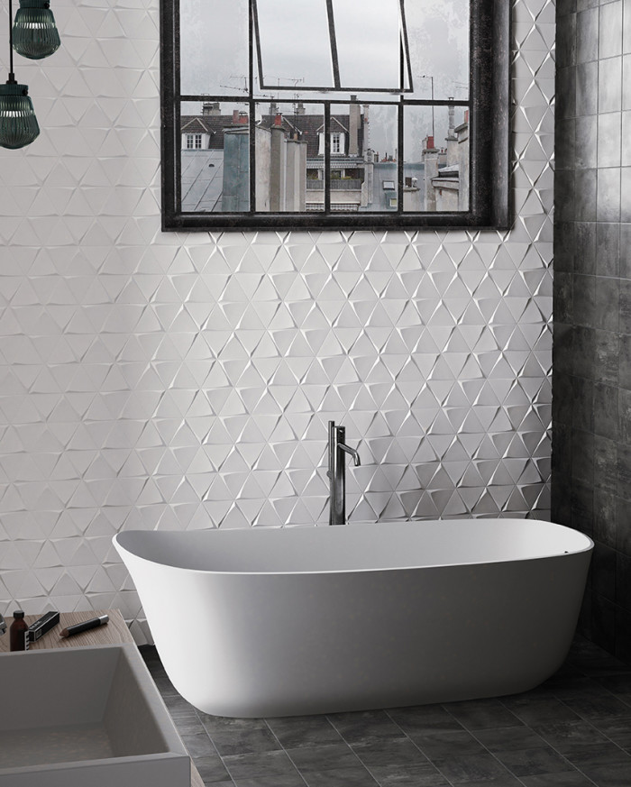 Triangolo 3D ceramic tile in Matte White in a blended pattern