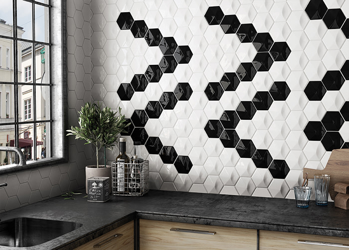 Hedron 3D ceramic tile in Gloss Black and Gloss White in a ribbon pattern