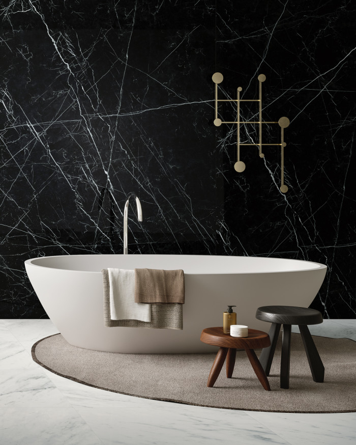 Nero Marquina on wall and Luxe White on floor