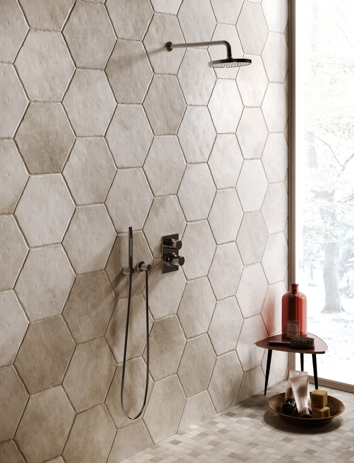 Native 13in porcelain hex tile in Ivory