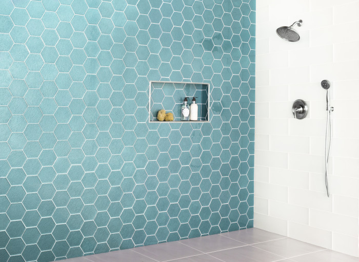 Verve 6in glass Charisma hex mosaic in Northern Lights Textured Gloss