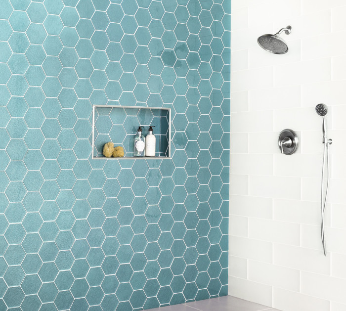 Verve Charisma Hex glass mosaic in Northern Lights