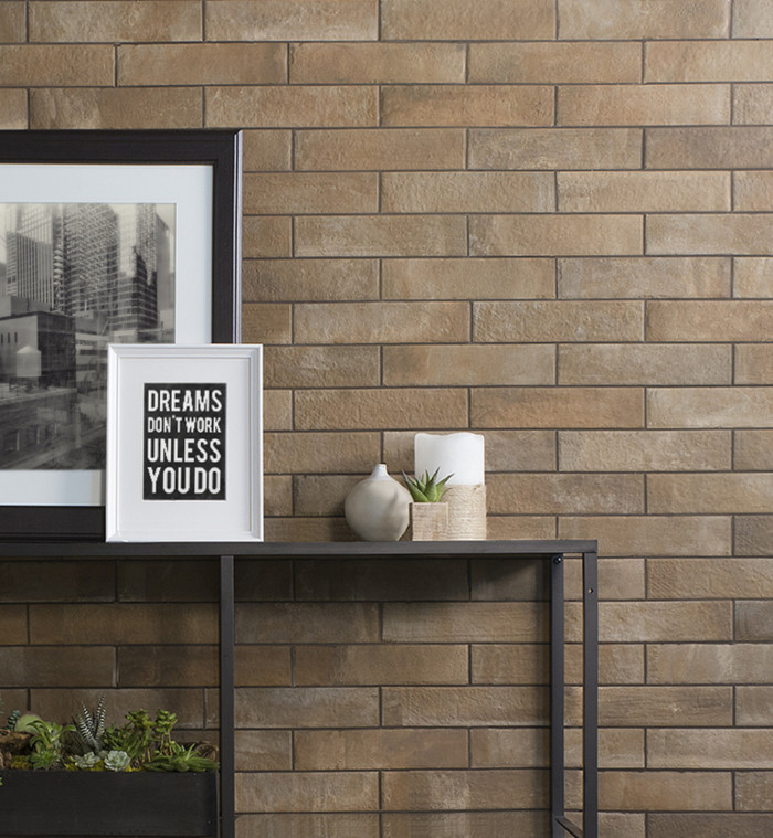 Urbanity 2.5x10 porcelain brick tile in Exposed