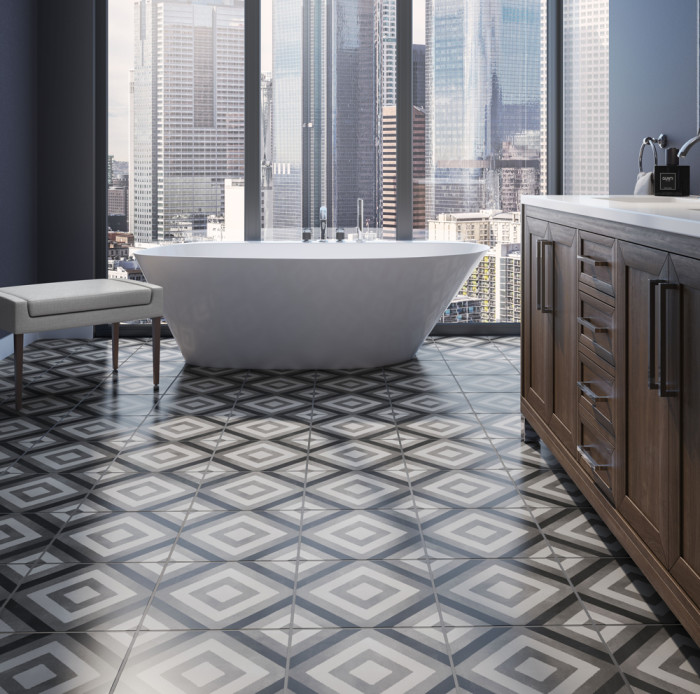 Chateau 12x12 porcelain tile in Diamond Deco - Canvas, Smoke and Midnight