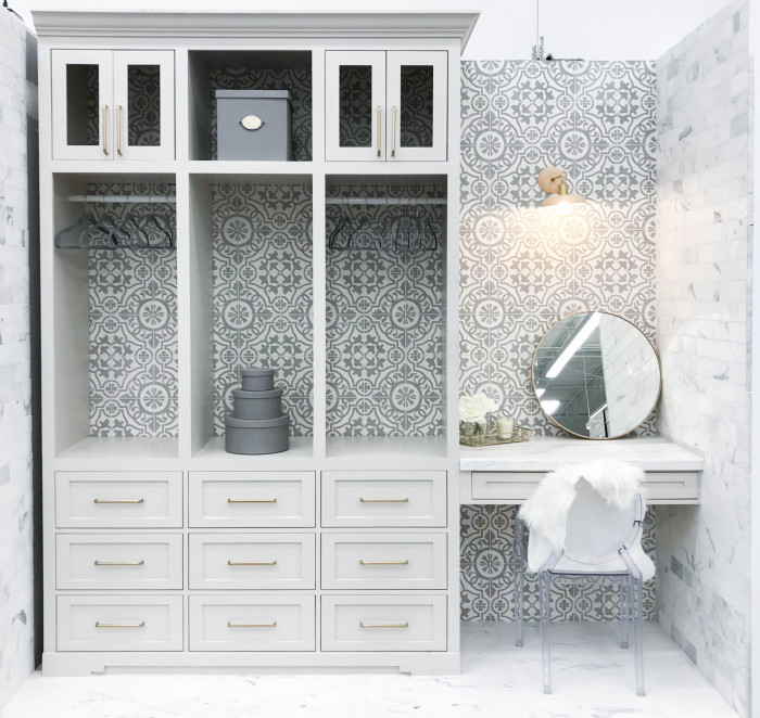 Closet and vanity wall: Remy 8x8 cement tile in Damsel | Side walls: Calacatta Oro 3x12 honed marble tile | Floor: Calacatta Oro 18x36 honed marble tile