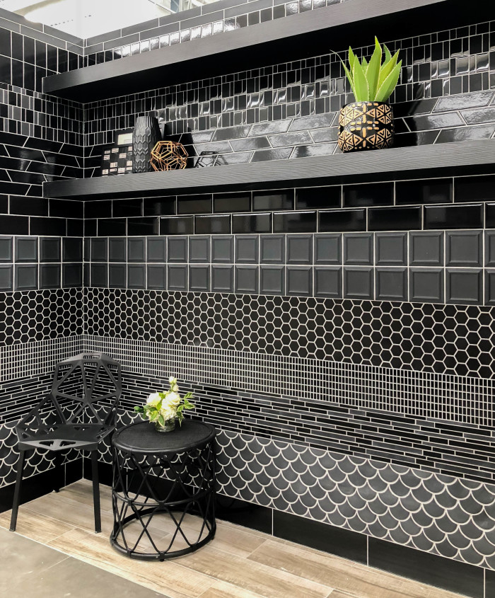 Black decorative ceramic, glass and porcelain tile and mosaics