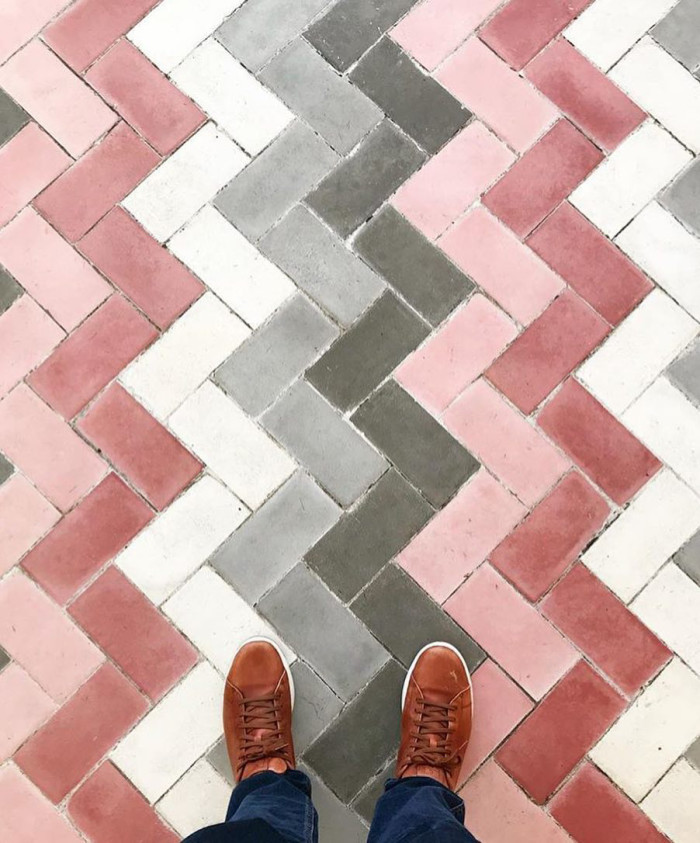 Hip herringbone patterns stand out in pink