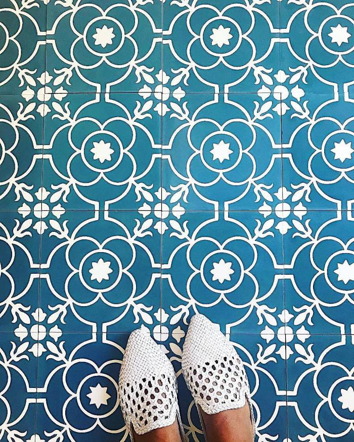 Source: @gladlyinteriors - Bohemian-inspired woven shoes dress up our Remy cement tile in the Brigette pattern