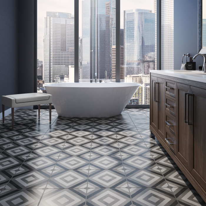 Chateau porcelain tile 12x12 Diamond Deco in Midnight, Smoke and Canvas