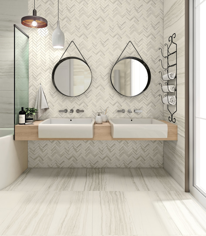 Highland marble-look 18x36 porcelain tile in White on floor | Herringbone mosaic in White on backsplash
