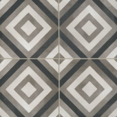 Chateau 12x12 porcelain deco tile in Diamond Deco - Canvas/Smoke/Midnight