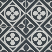 Chateau 12x12 porcelain deco tile in Fiore Deco - Canvas/Ocean
