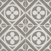 Chateau 12x12 porcelain deco tile in Fiore Deco - Canvas/Smoke