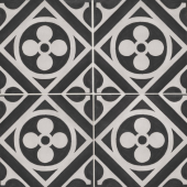 Chateau 12x12 porcelain deco tile in Fiore Deco - Canvas/Midnight
