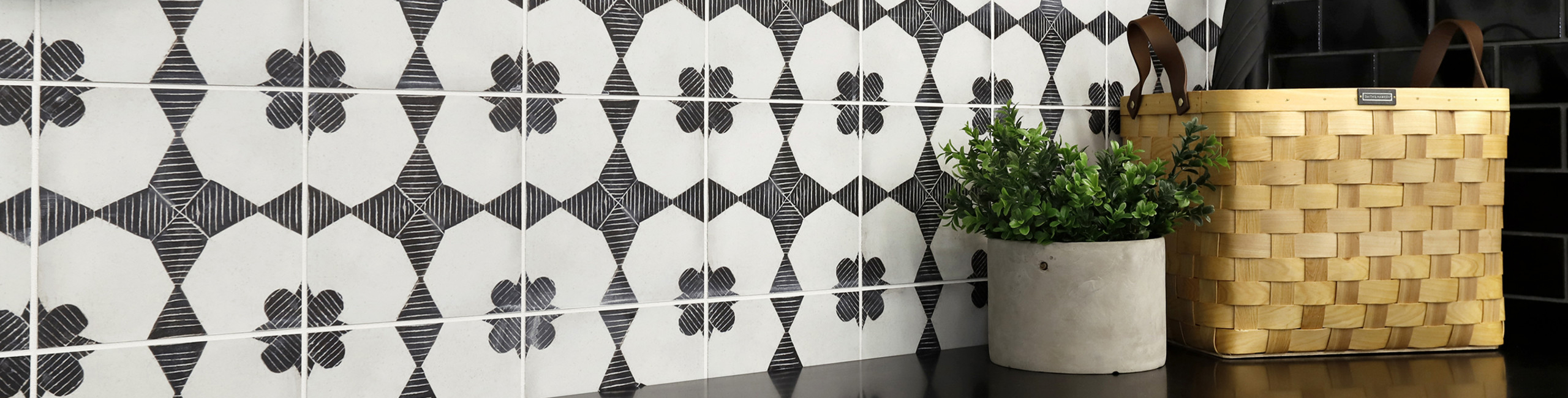Designing with Black and White Tile and Stone - Enchante Moderno porcelain tile