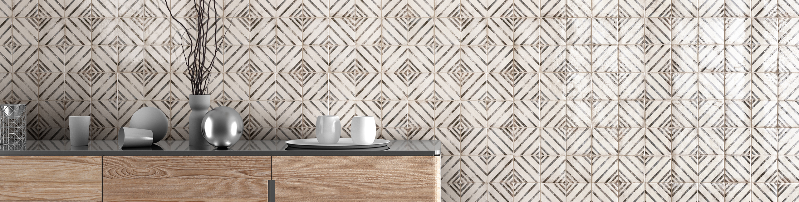 Vivace 4x 4 Decorative Tile in Rice Incline