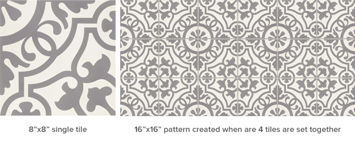 Remy Cement Tile in the Damsel Pattern