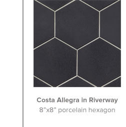 Costa Allegra in Riverway 8x8 porcelain hexagon