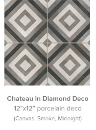 Chateau in Diamond Deco 12x12 porcelain deco in Canvas, Smoke, Midnight