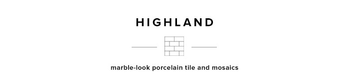 Highland vein-cut marble porcelain tile and mosaics