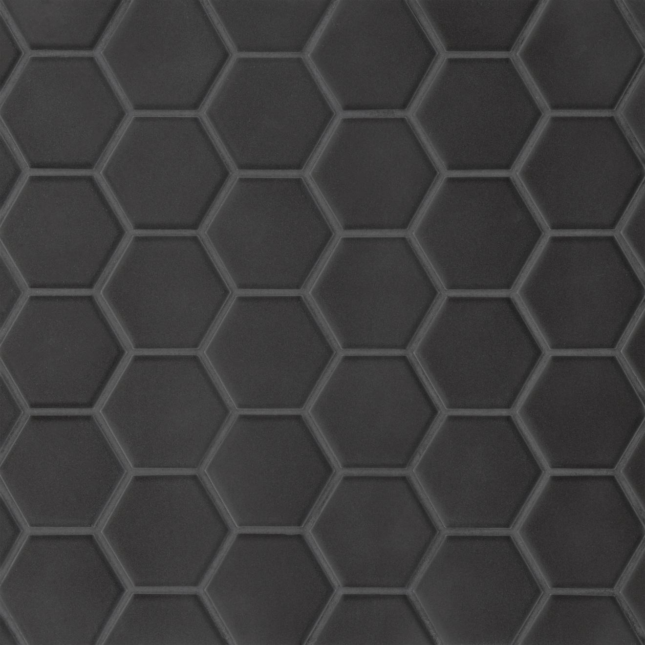 Le Cafe 2 X 2 Hexagon Matte Porcelain Mosaic Tile In Black Bedrosians Tile Stone