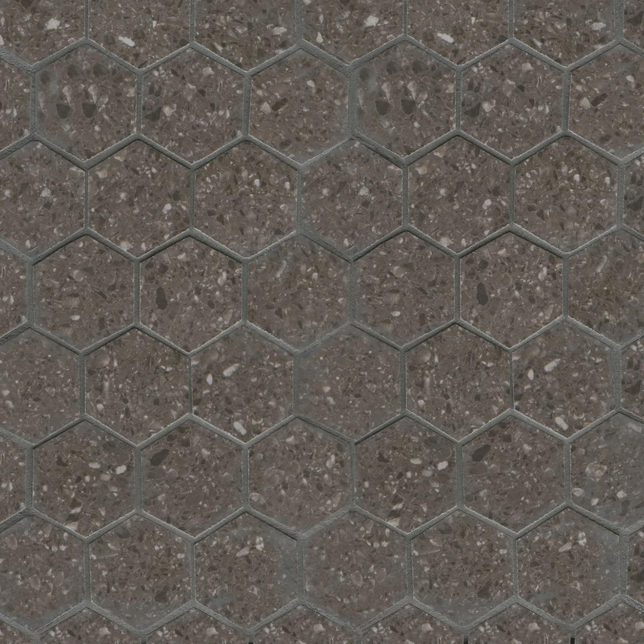 Terrazzo 2 X 2 Floor Wall Mosaic In Dark Gray