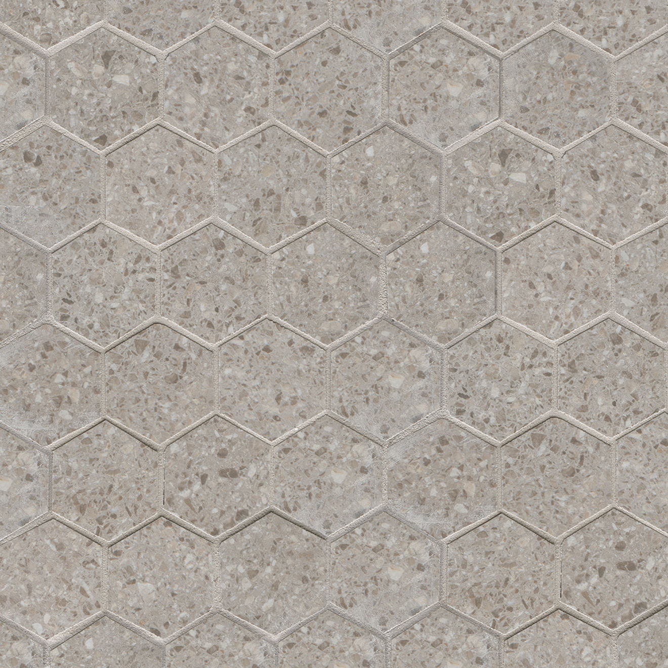 Terrazzo 2 X 2 Floor Wall Mosaic In Light Gray