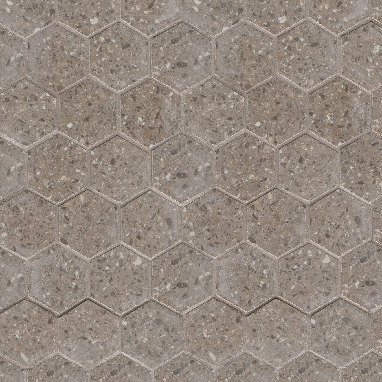 Terrazzo 2 X 2 Floor Wall Mosaic In Medium Gray