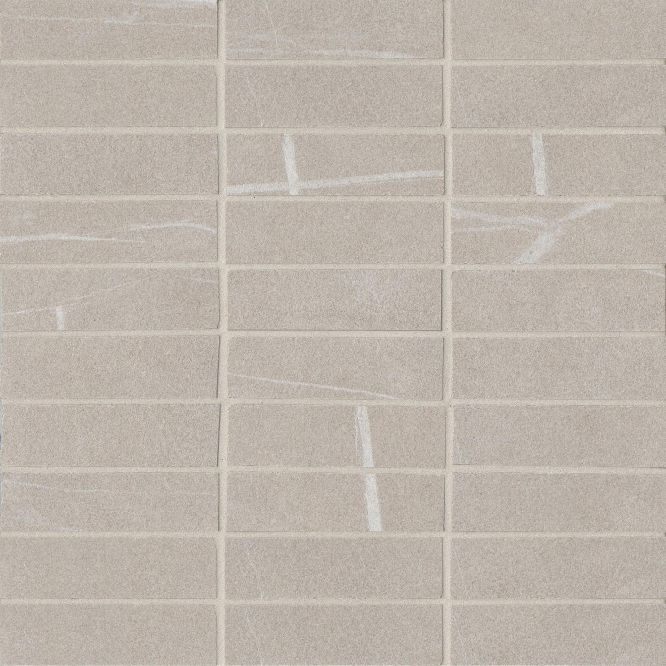 "Nomade 1""x4"" Matte Porcelain Mosaic Tile in Bone"