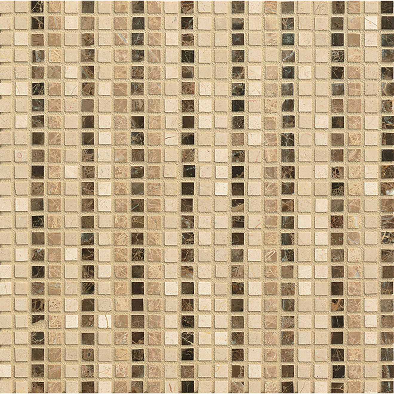 "Menage et Trois 3/8"" x 3/8"" Floor & Wall Mosaic in Espresso, Heirloom, Viburnum"
