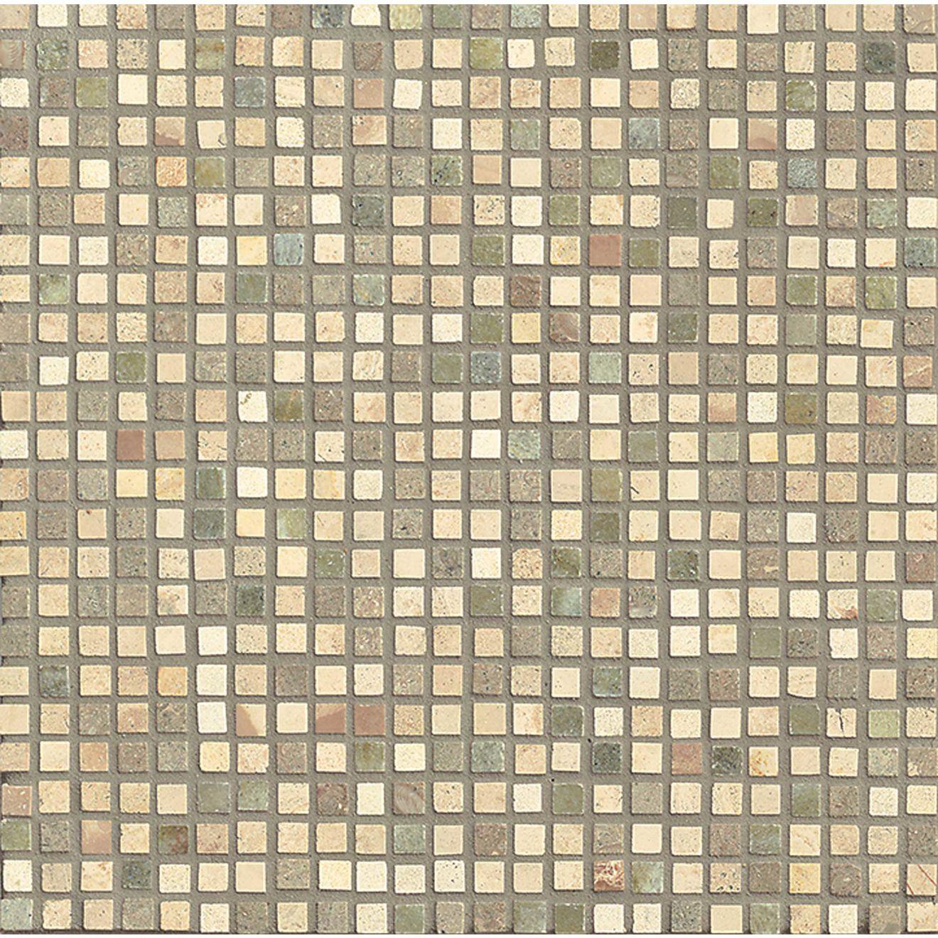 "Menage et Trois 3/8"" x 3/8"" Floor & Wall Mosaic in Crema, Tepenade, Verde Laguna"