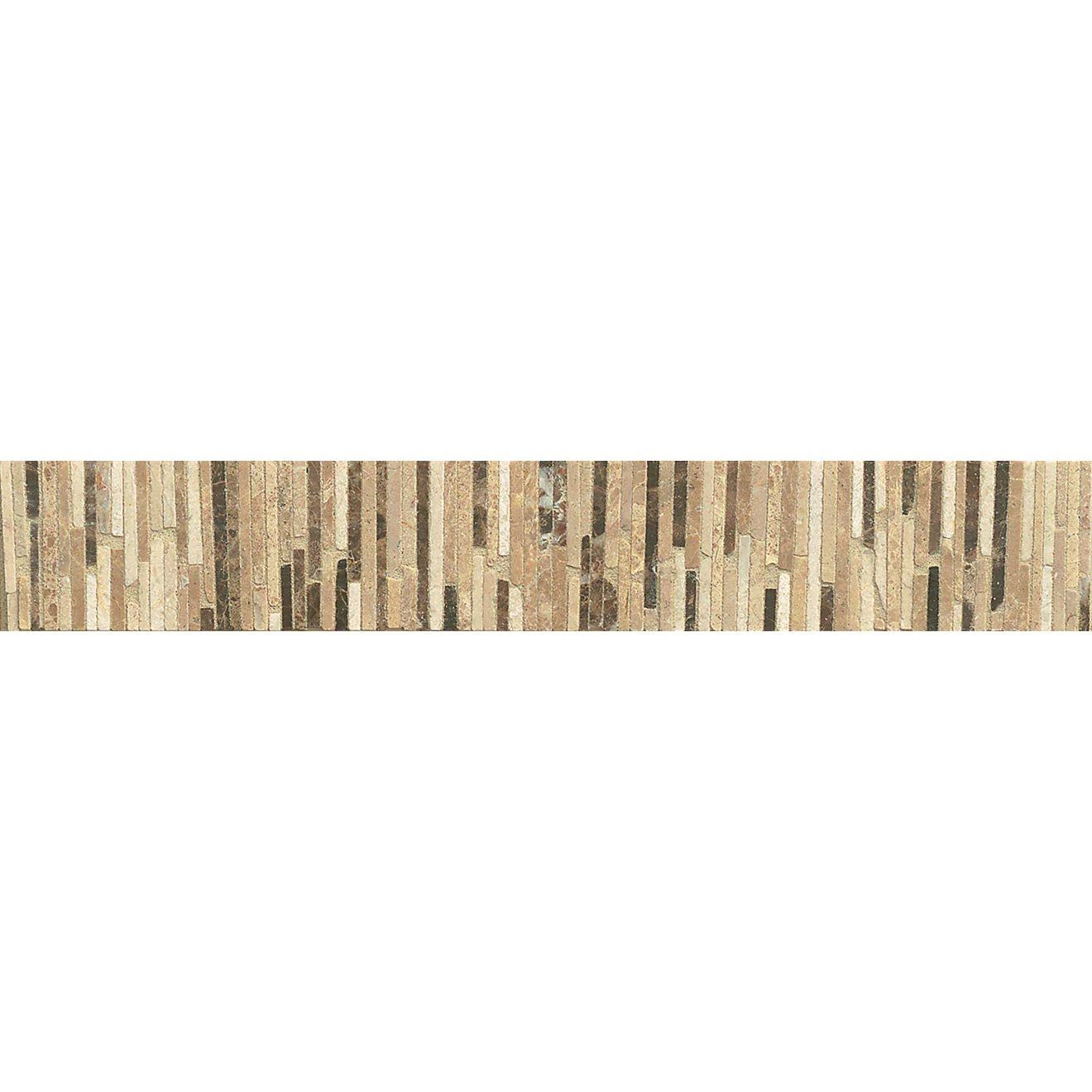 """Menage et Trois 2"""" x 11.75"""" Floor & Wall Listello in Espresso, Heirloom, Viburnum"""