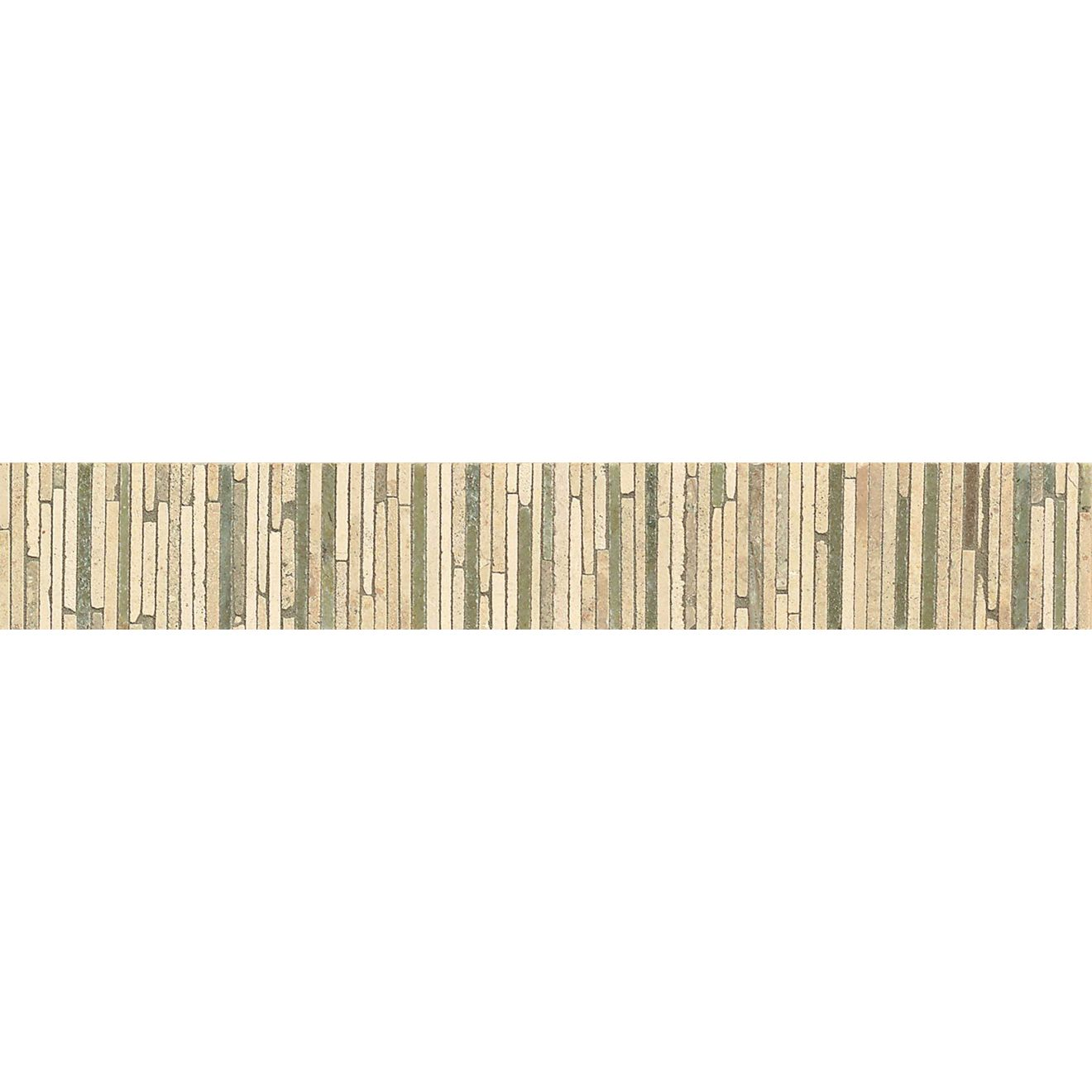 "Menage et Trois 2"" x 11.75"" Floor & Wall Listello in Crema, Tepenade, Verde Laguna"