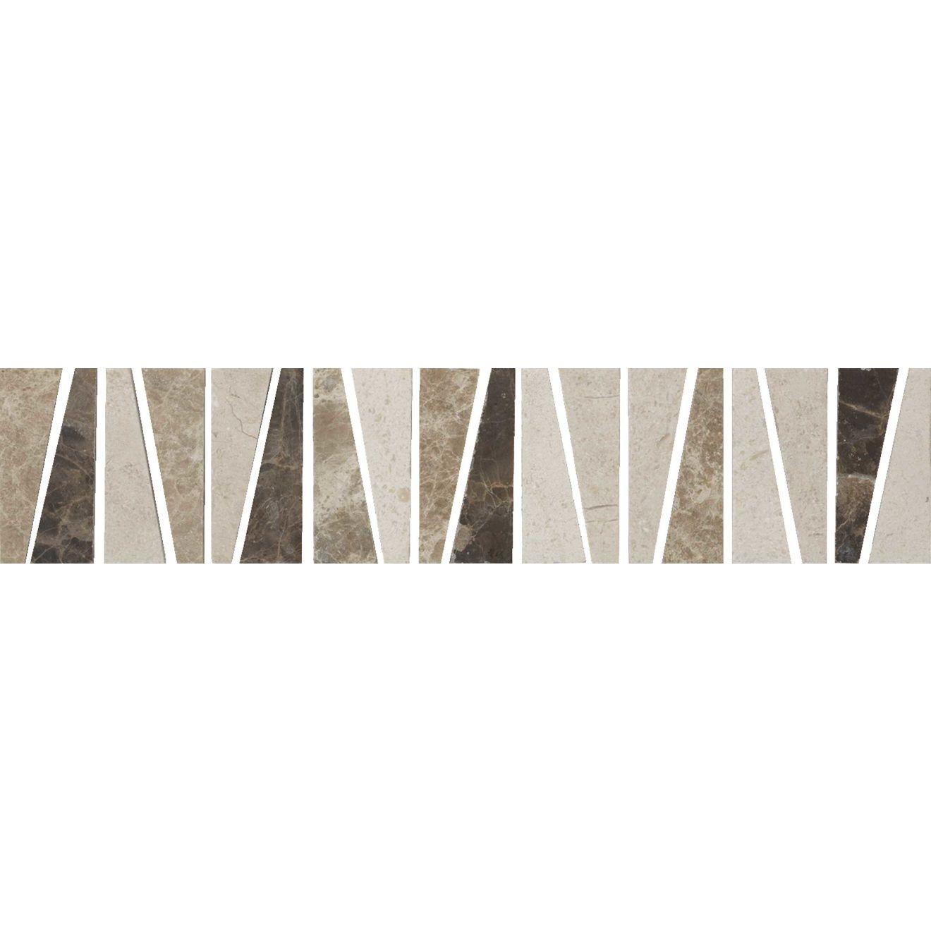 """Menage et Trois 2.5"""" x 12"""" Floor & Wall Listello in Espresso, Heirloom, Viburnum"""