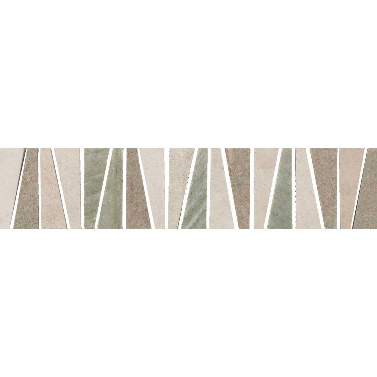 "Menage et Trois 2.5"" x 12"" Floor & Wall Listello in Crema, Tepenade, Verde Laguna"