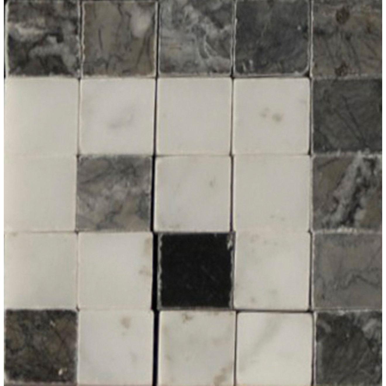 """Mod Rocks 3"""" x 3"""" Decorative Tile in Ebony, Flannel, White Carrera"""