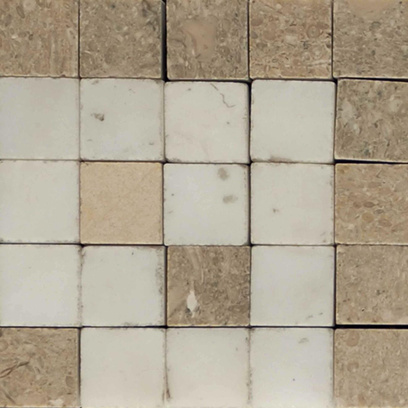 """Mod Rocks 3"""" x 3"""" Decorative Tile in Brioche, Calacatta, Tepenade"""