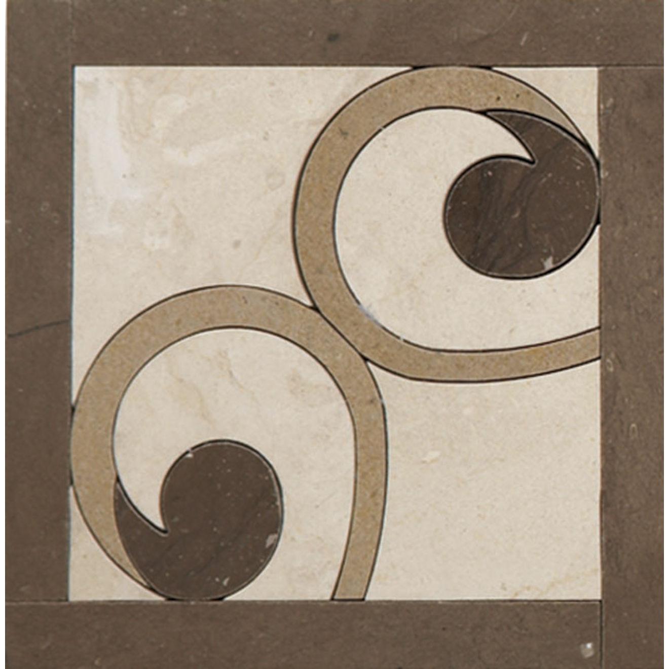 "Suave 4"" x 4"" Decorative Tile in Calacatta, Fleece, Gold, Mink"