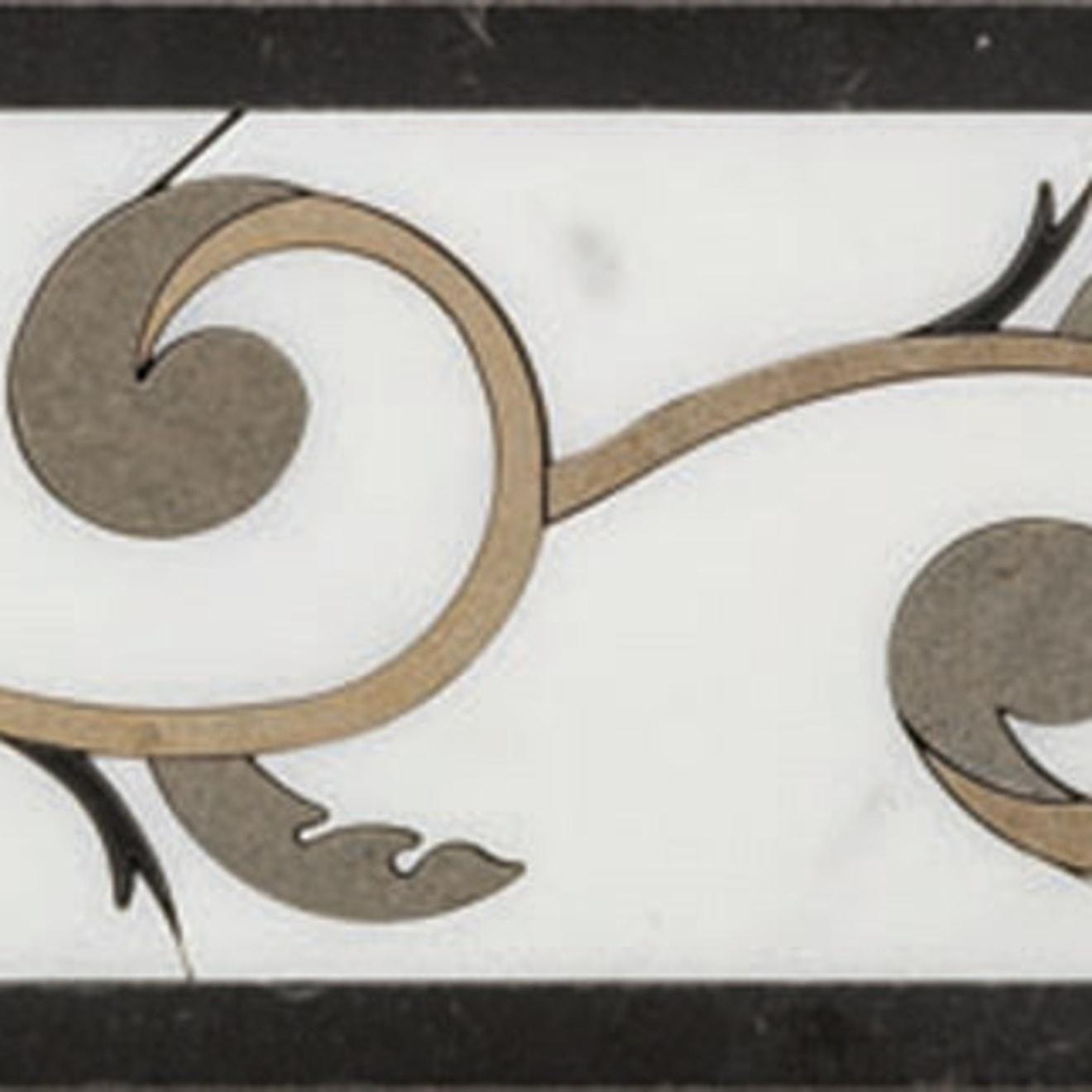 "Suave 4"" x 12"" Floor & Wall Listello in Calacatta, Fleece, Mink"