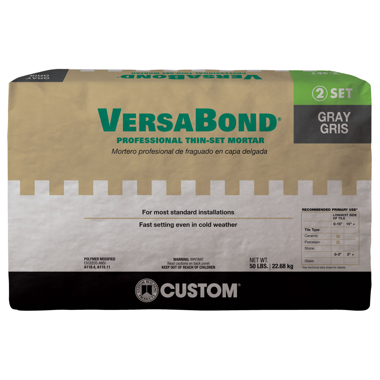 Custom Versabond Thin-Set in Gray - 50lb. Bag