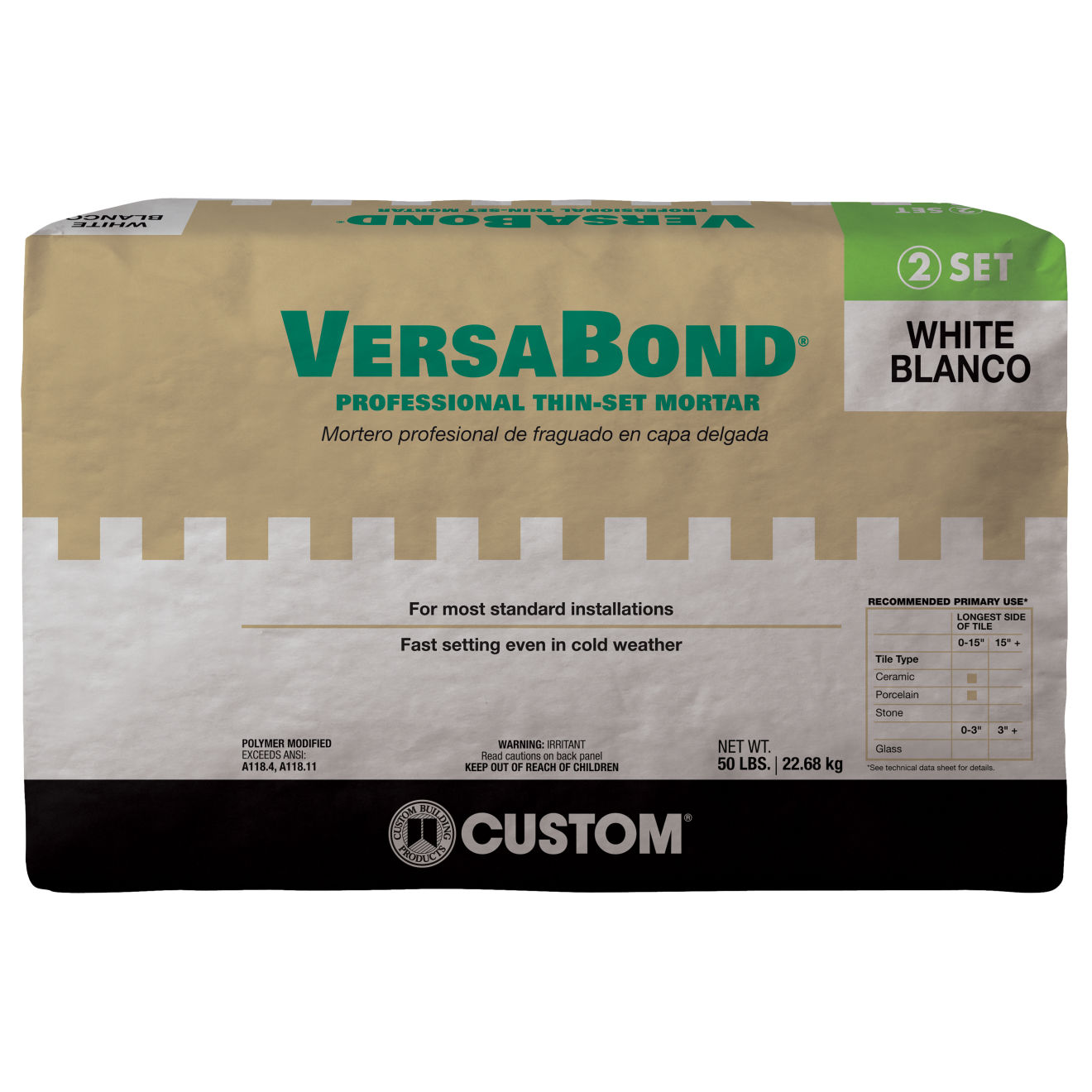 Custom Versabond Thin-Set in White - 50 lb. Bag