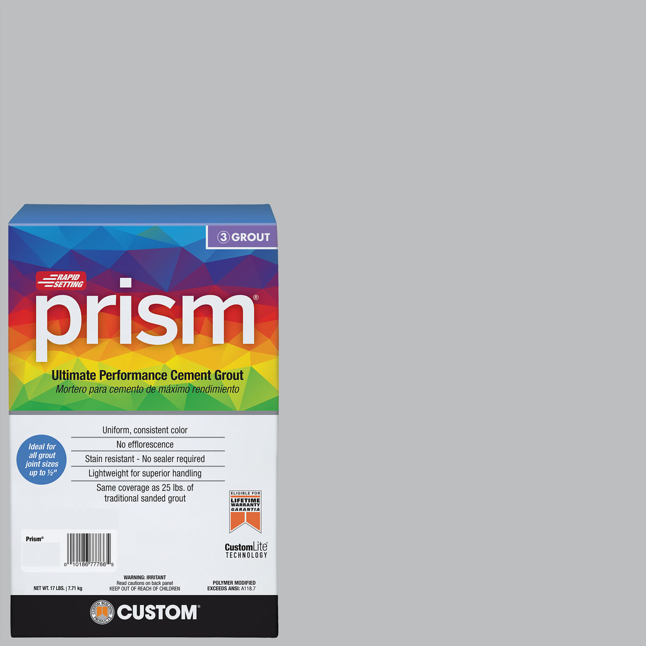 Custom Prism #115 Platinum 17lb. Sanded Grout