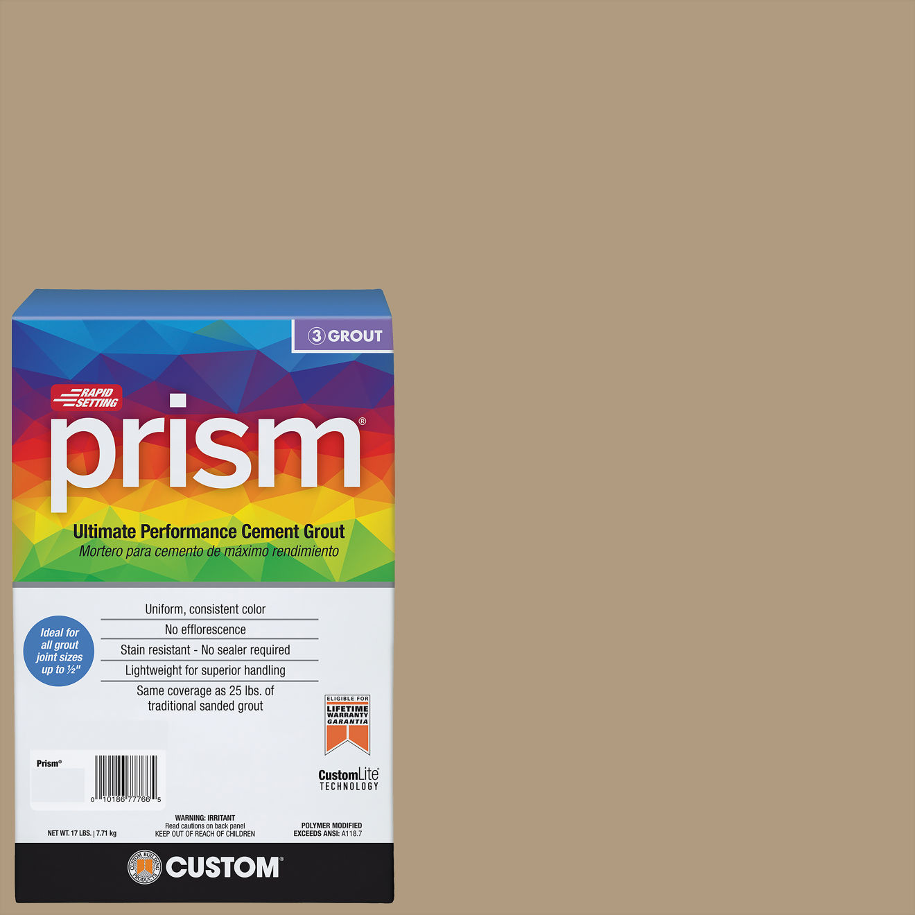 Custom Prism #186 Khaki 17lb. Sanded Grout