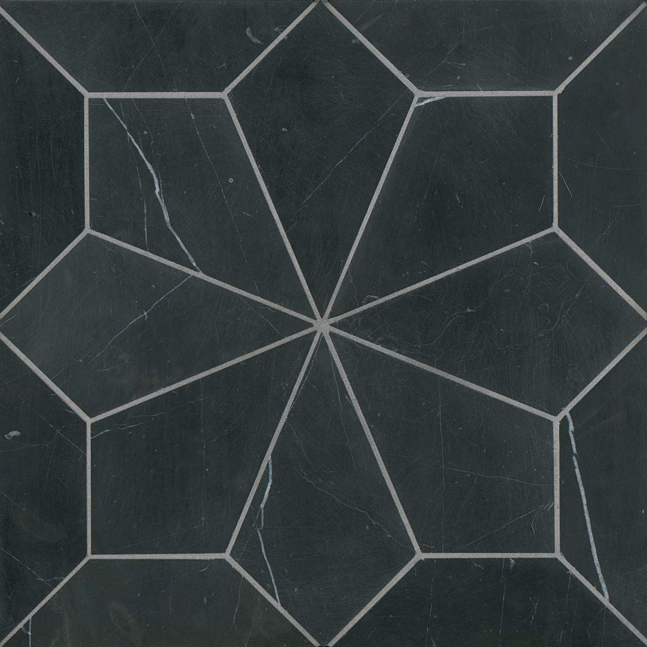 Blomma Floor & Wall Mosaic in Nero