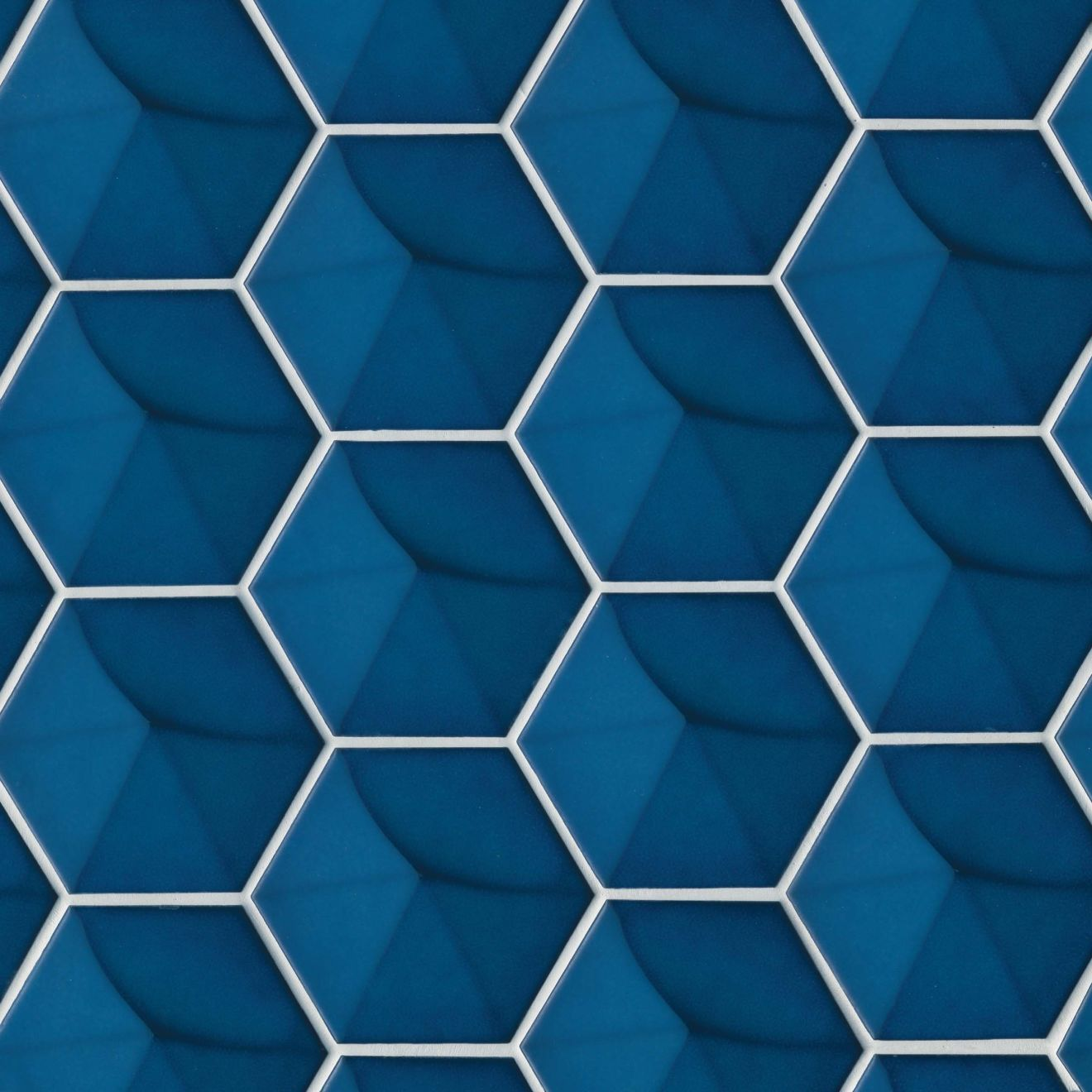 """Hedron 4"""" x 5"""" Wall Tile in Electric Blue"""