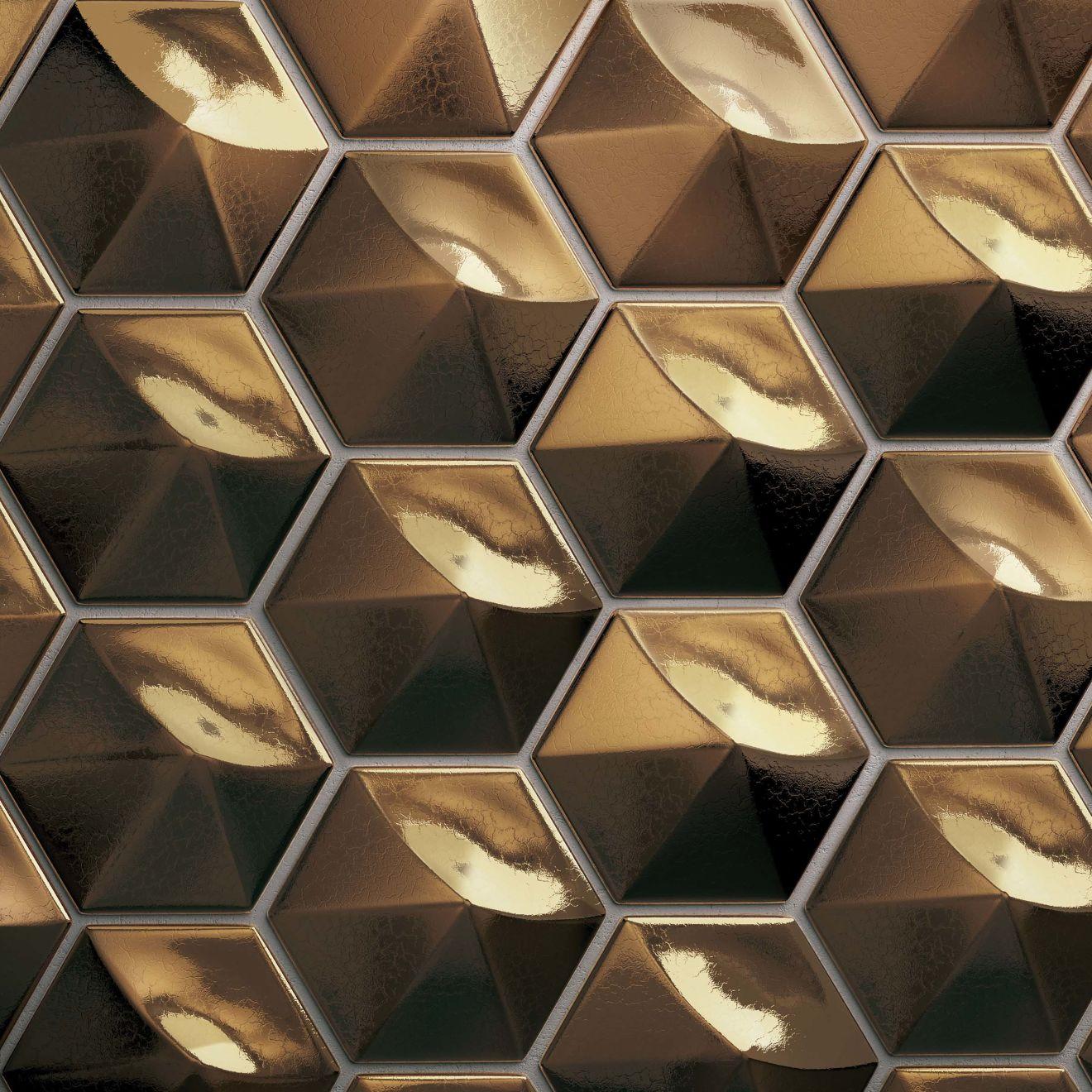"Hedron 4"" x 5"" Wall Tile in Metallic"